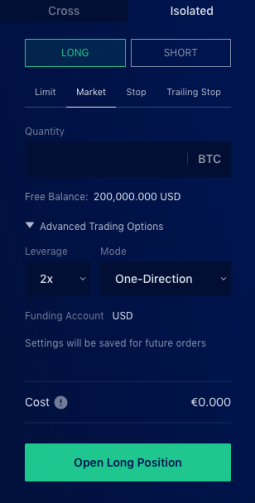 Liquid Exchange open isolated margin step 3