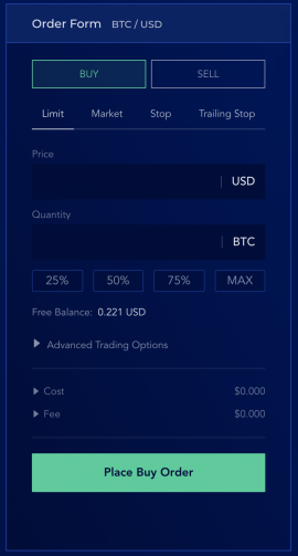 Liquid Exchange limit order step 1