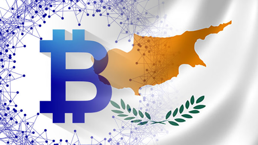 Cyprus flag with Bitcoin symbol