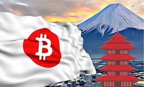 Japanese flag with Bitcoin symbol