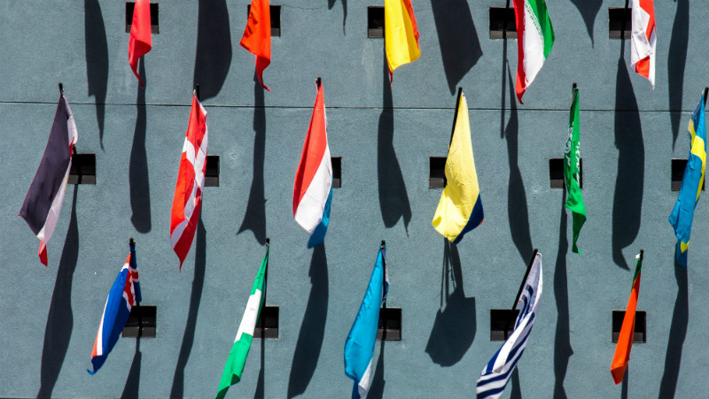 Flags on a Wall