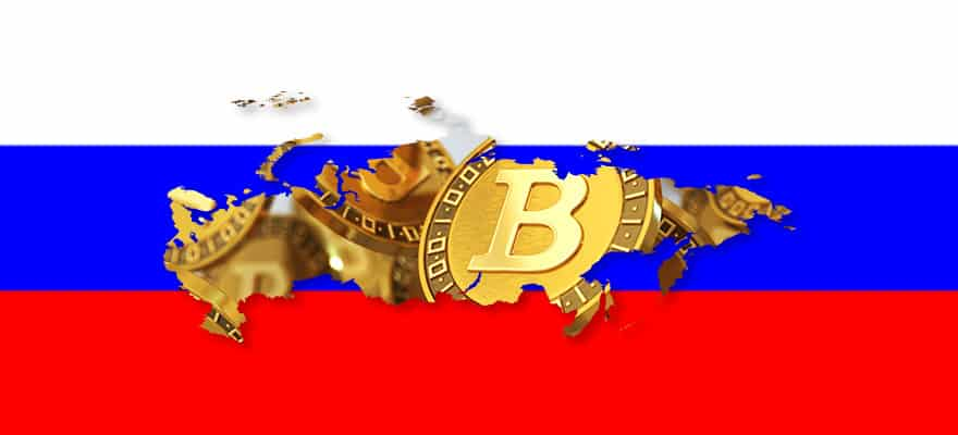 Russian Flag with Bitcoin On It
